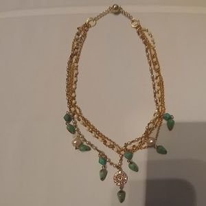 Jewelry - Gold turquoise and pearl necklace